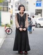 Harajuku Girl w/ Piercings, Kinji Maxi Dress, Snakeskin & Tokyo Bopper