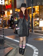 Harajuku Singer w/ Remake Leather Jacket, Moussy & Fishnet Stockings