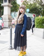 Spinns Harajuku Sweater & Necklace w/ Sheer Skirt & Reebok Sneakers