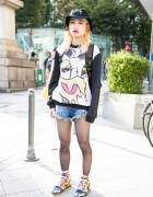 Coveted Society Sweatshirt, Stussy Bucket Hat, Cutoffs & Nike in Harajuku