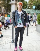 Punk-meets-Akihabara Leather Biker Jacket & Pink Dr. Martens in Harajuku