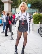 Nakid x G.V.G.V. Top, UNIF Leather Skirt & Fjallraven Kanken Backpack in Harajuku