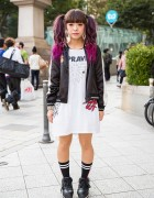 Dip Dye Twin Tails, Candy Stripper Satin Jacket & Jouetie in Harajuku