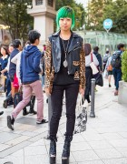 Green Haired Harajuku Girl in UNIF Biker Jacket, Nincompoop Capacity & YRU