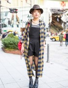 Sly Romper, Long Plaid Coat, Moussy Backpack & Ankle Boots in Harajuku