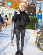 Short Haired Harajuku Girl in Stadium Jacket & Pointy Creepers w/ Kastane, Nadia & Uniqlo