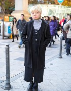 Short Blond Hair & Layered Outfit w/ San-biki no Koneko & Spinns in Harajuku