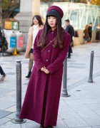 Pillbox Hat & Maroon Maxi Coat w/ Ahcahcum Muchacha Bunny Bag & Loafers