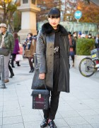 Leather Coat, Vintage Zool Pants & Alice Auaa Box Bag in Harajuku