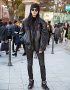 Harajuku Model in Black Leather Jacket, Leather Pants, Sunglasses & Beanie