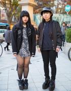 Harajuku Girls in Matching Hellcatpunks Backpacks & YRU Platforms