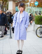 Bubbles Harajuku Baby Blue Coat w/ E hyphen world gallery Dress & Velvet Platforms