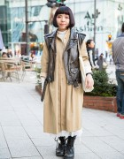 Harajuku Girl w/ Bob Hair in Sleeveless Biker Jacket, Overcoat & Boots