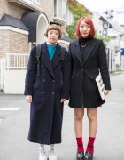 Harajuku Girls in Dark Coats w/ Resale Items, Uniqlo & Adidas