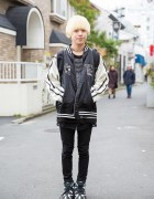 Blonde Harajuku Guy w/ Sukajan Jacket, Sweater, Skinny Pants & Sneakers