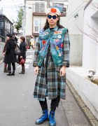 Punk Cake Harajuku's Kinji in Denim Vest Over Plaid Coat & Dr. Martens