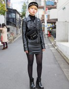 Harajuku Girl w/ Biker Jacket, Leather Mini Skirt & Thrasher Bag