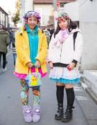 Harajuku Decora Girls w/ Hair Clips, Tutus, Plush Jackets & Pikachu Bag