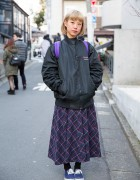 Plaid Maxi Skirt, Supreme Backpack & Canvas Sneakers in Harajuku