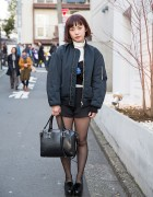GVGV Lace-up Bomber Jacket, Knit Shorts & Pom Pom Platforms in Harajuku