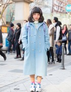 Pastel Blue Panama Boy Coat, North Face Backpack & Sneakers in Harajuku