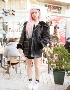Pink Hair, MYOB Faux Fur Hat, Versace Backpack & Chanel Ring in Harajuku
