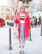 Harajuku Girl in Cherry Sweater, Pompom Skirt & Tokyo Bopper Glitter Shoes