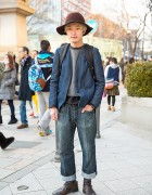 Harajuku Guy in Denim & Hat w/ Undercover Backpack & Guidi Boots