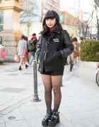 Leather Sleeve Stadium Jacket, Prada Bag & Ankle Boots in Harajuku