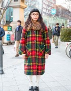 Harajuku Girl in Glasses w/ Kinji Plaid Coat, Ombre Hair & Loafers