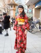 Pretty Floral Print Kimono & Braids Hairstyle in Harajuku