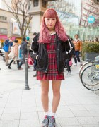 Pink Hair & Makeup w/ Plaid Dress, Jacket, Supreme & Adidas in Harajuku