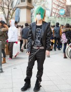 Aqua-Haired Harajuku Guy w/ Ghost of Harlem & Studded Buffalo Bobs Boots