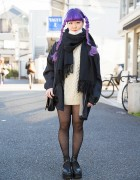 Purple Hair, Vintage Cable Knit, Platforms & Punk Cake in Harajuku