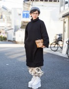 Long Sweatshirt, Graphic Pants, Clutch & Spinns Platforms in Harajuku