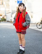 Resale Stadium Jacket, Plaid Skirt & Twin Tails in Harajuku