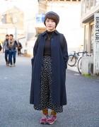 Maxi Coat, Culottes, Vivienne Westwood & New Balance Sneakers in Harajuku