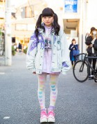 Nadia Harajuku Cat, Flower Harness, Heart Tights & See-Thru Backpack