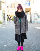 Magenta Hair, Mary Quant Jacket, Comme des Garcons & Nike Sneakers in Harajuku