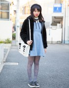 Harajuku Girl w/ Beret, WEGO Coat & Honey Mi Honey Satchel