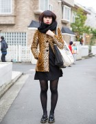 Leopard Print Coat w/ Black Dress & Dr. Martens in Harajuku