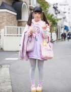 Twin Tails w/ Pastel Milklim & Swimmer Fashion in Harajuku