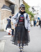 Black Lipstick, Sheer Skirts, Listen Flavor Top & Metallic Sandals in Harajuku