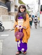 Kimono w/ Vivienne Westwood Heart Bag & Dr. Martens in Harajuku