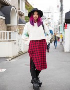 Harajuku Girl w/ Pink & Purple Hair in Layered Style Nanda, Asos & Handmade Fashion