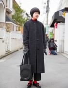 Black & Red Fashion w/ Maxi Coat & Tokyo Bopper Bag in Harajuku