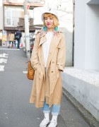 Trench Coat, Jeans, Converse Sneakers & MCM Bucket Bag in Harajuku