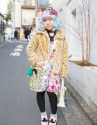 Pastel Hair, 6%DokiDoki Dress & Yowamushi Pedal Bags in Harajuku