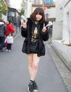 One Spo Coat, Adidas Hoodie, LDS Backpack & Dazzlin Wedges in Harajuku