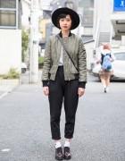 Harajuku Girl in Bomber Jacket, Hat & High Waist Pants